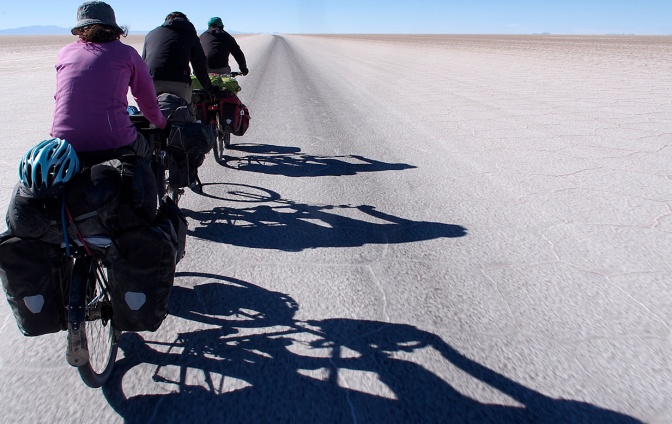 Cruising the salt highway on the Salar de Uyuni.