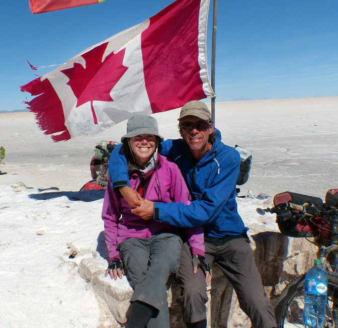 A couple of canucks on the Salar de Uyuni.