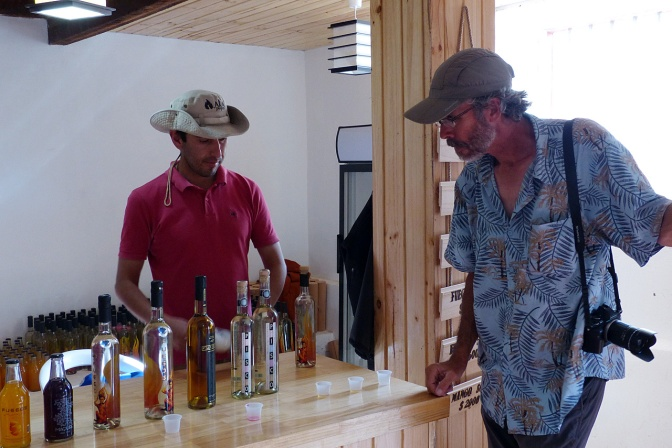 Tasting the Pisco at Aba Pisquera.