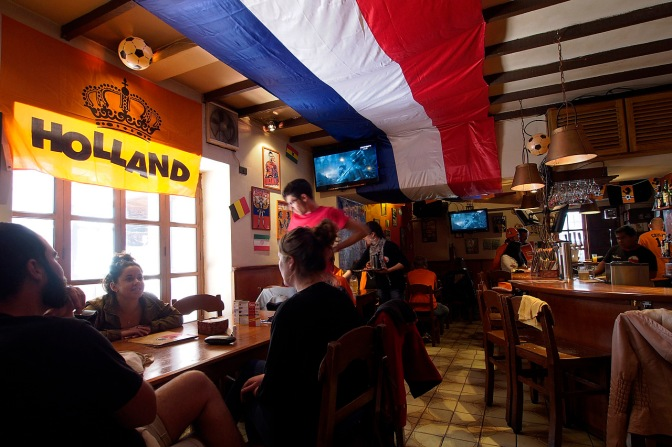 Watching Holland vs. Mexico at Florin Holland Heineken House in Sucre.