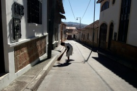 Sweeping the stoop.