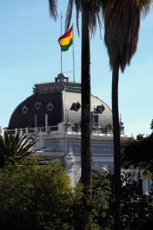 The Bolivian colours flying from Prefectura del departamento.
