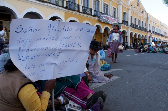 Protesters sitting in the streets around Plaza 14 de Septiembre in Cochabamba.