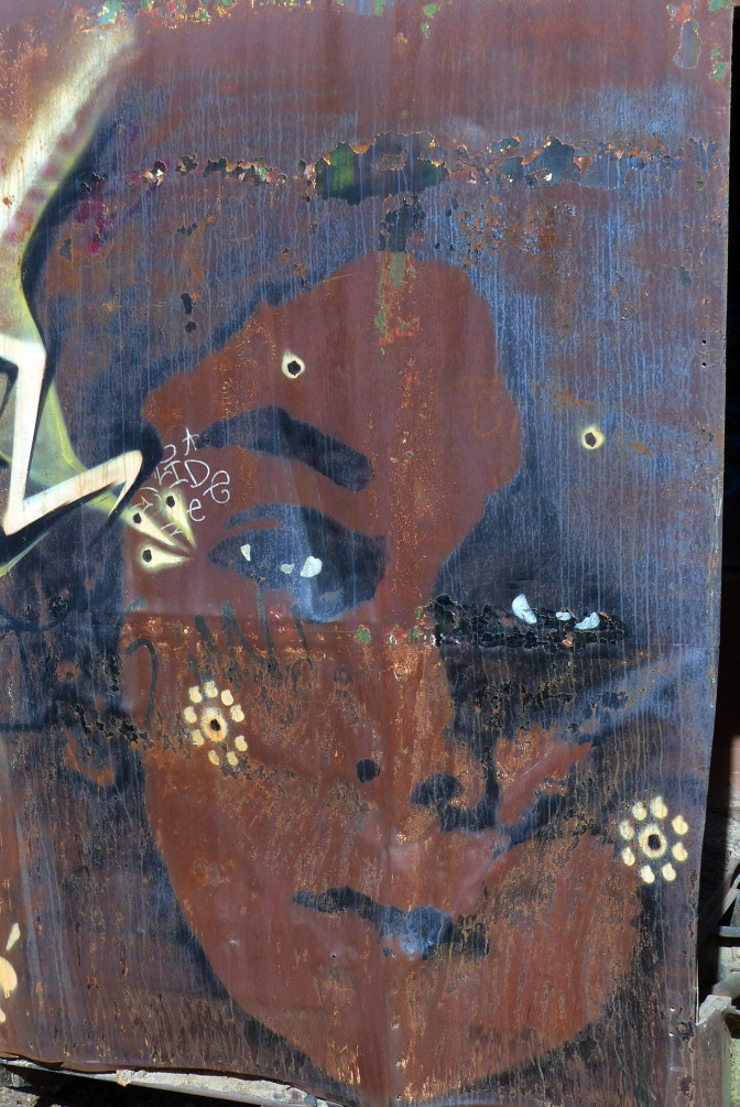 Rusting art at Uyuni's train cemetery.