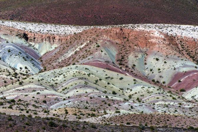 Multi-coloured mountains near Tica Tica.