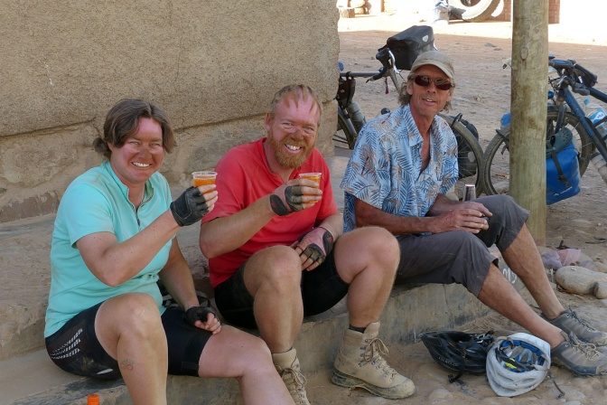 Dirty and thirsty after a long, dusty ride to Pena Colorada.