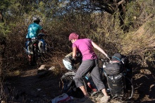 Pushing through the bush to a camp spot on our way to La Paz.