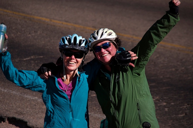 Jan and Ellen celebrate at the top of La Cumbre, 4,500 metres, in Bolivia.