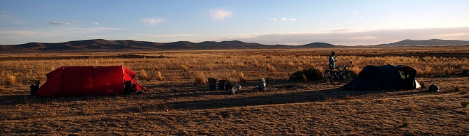 Camped in a field outside Culpapucho Belen on the way to La Paz.