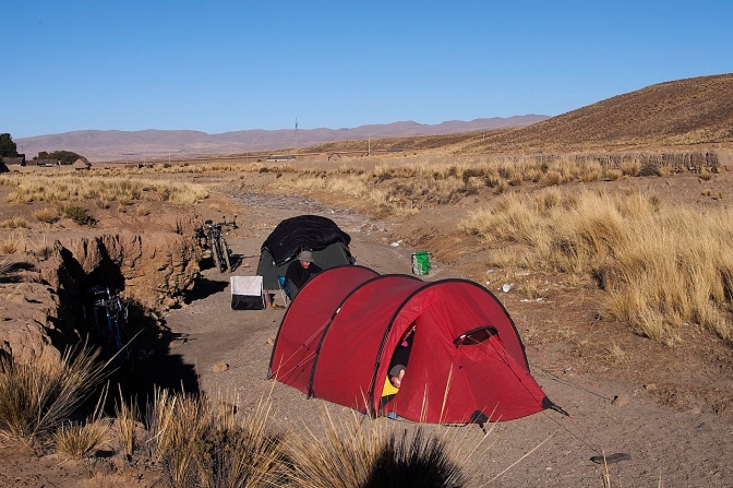 Creek bed camp near Ajoya, a small town on the highway to La Paz.