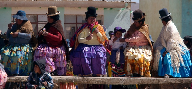 Sharply dressed women at an independence day festival in a small town south of El Alto.