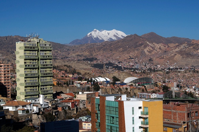 View of La Paz from Sopocachi with 6,439-metre-high Illimani in the background.