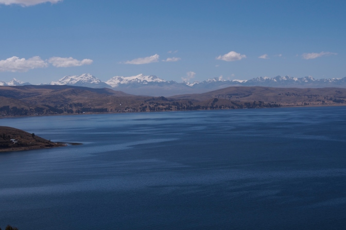 Lake Titicaca along the road to Copacabana with the Cordillera Real on the horizon.