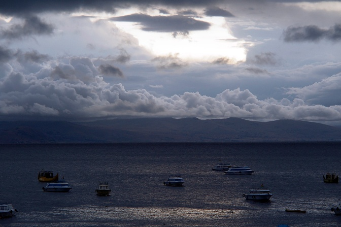 Sunset over Lake Titicaca and Copacabana beach.
