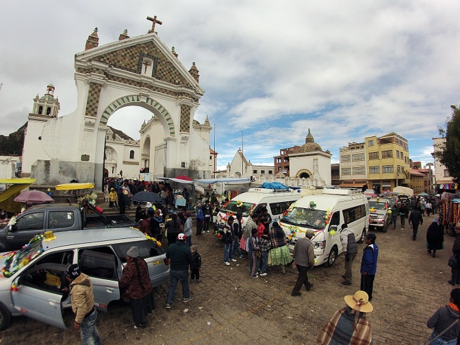 Cars outside Copacabana Cathedral waiting to be blessed by the priest.