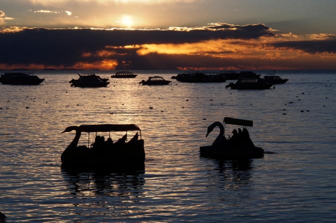 Paddle boats off Copacabana beach.