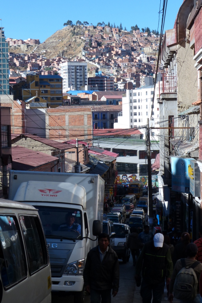 Traffic-choked streets in La Paz.