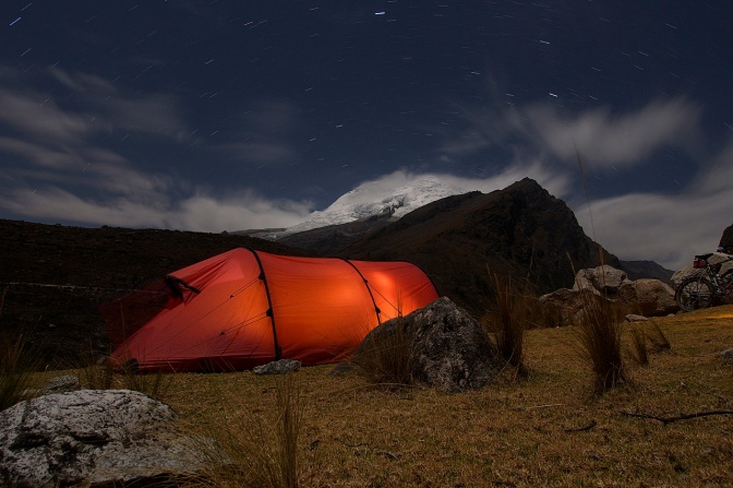 Camp at 3,500 meters below Huascarán.