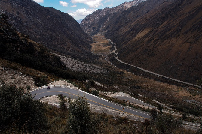 The view from above: Jan climbing the switchbacks up to Punta Olimpica Pass.