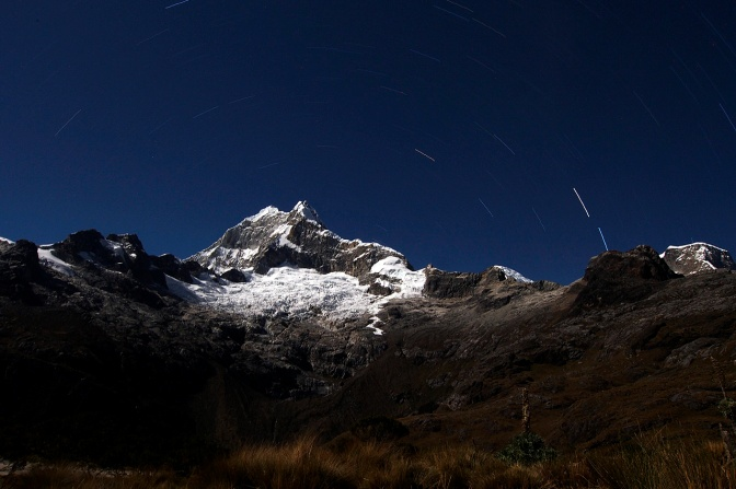 Star trails over Chopicalqui in the Cordillera Blanca.