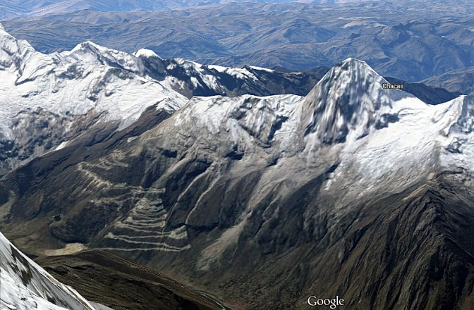 Google view of the switchback ladder climbing up to Punta Olimpica Pass.