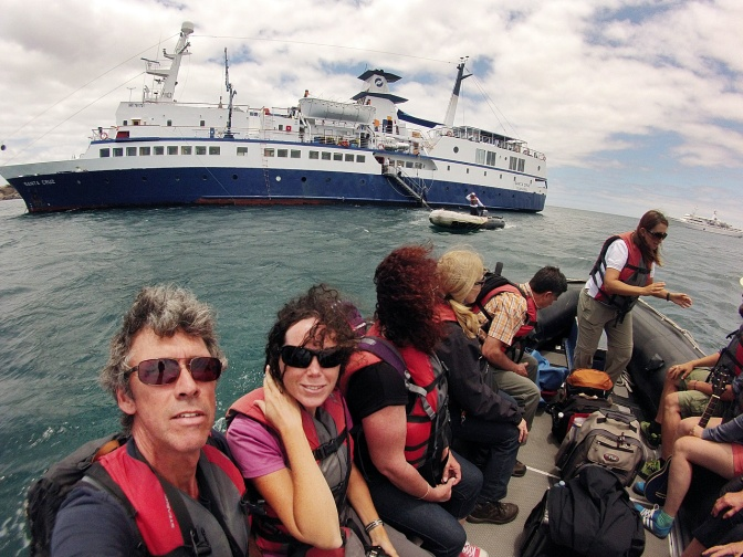 Embarking the Santa Cruz for a five-day cruise of the Galapagos.