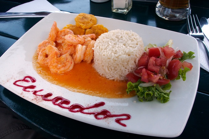 Yummy shrimp and coconut sauce lunch.