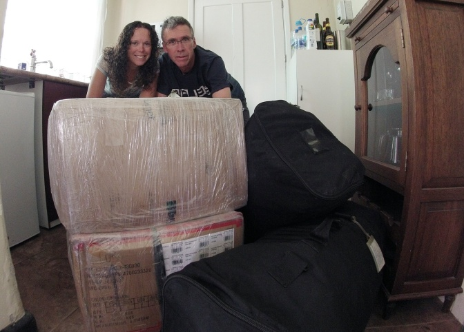 After 16 months on the road, all we have is packed in two boxes and two bags and we're ready to come home.
