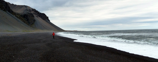 Walking the beach at Mordor in Iceland.