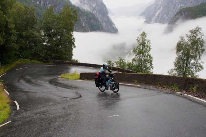 Jan climbing Stalheim, 18 per cent, Norway's steepest road.
