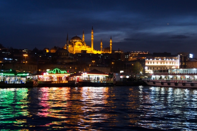 Looking to Suleymaniye Camii across the Golden Horn in Istanbul, Turkey.