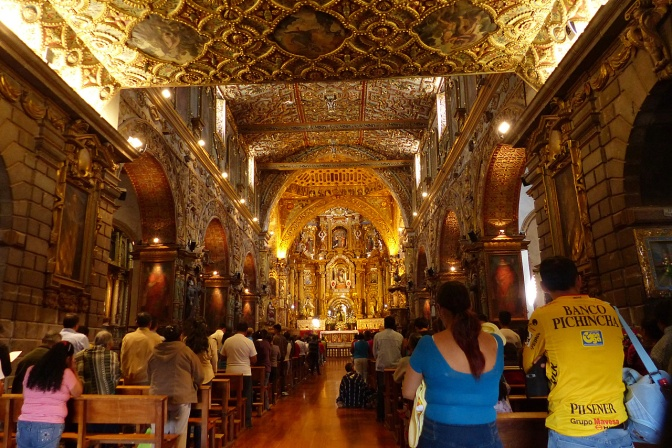 The gilded Jesuit church La Compa–'ña de JéŽsus, dubbed the most beautiful Church in the Americas. Building began in 1605 and completed in 1765.