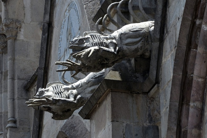 Iguana gargoyles on Basilica del Voto Nacional. Other gargoyles included giant tortoises, albatros and pelicans.