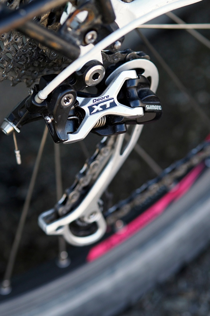XT long cage rear derailleur.
