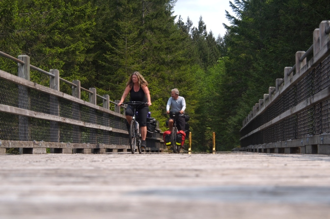 Grietje and Chris on one of the Cowichan Valley Trail trestles.