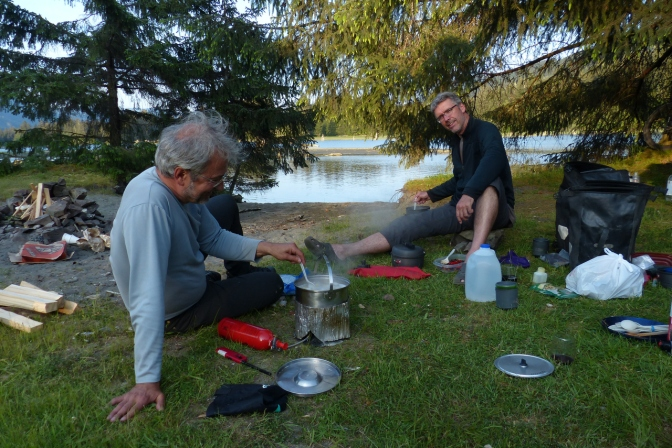 Chris and Paul making dinner at Port Renfrew campsite.