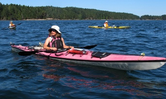"Jaynie in her ""Barbie Boat."" crossing to Pender Island."