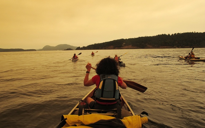 Paddling back to Saltspring Island's Long Harbour in the smoke from large forest fires on Vancouver Island.