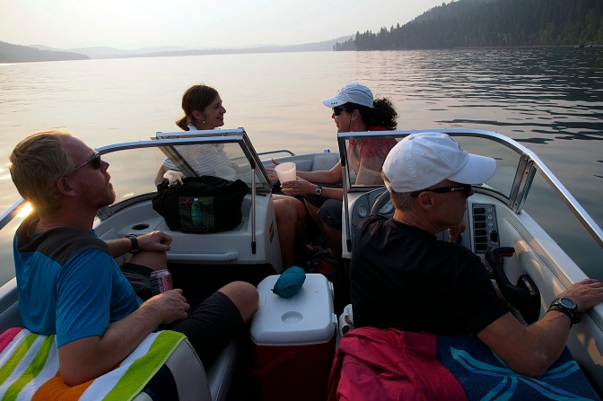 A sunset booze cruise with Cathy and Walt, our friends in Whitefish who hosted us.