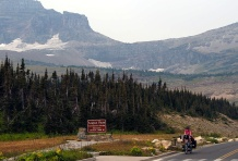 Jan gains the 2,025-metre-high Logan Pass, the summit on Going to the Sun Road in Glacier National Park.
