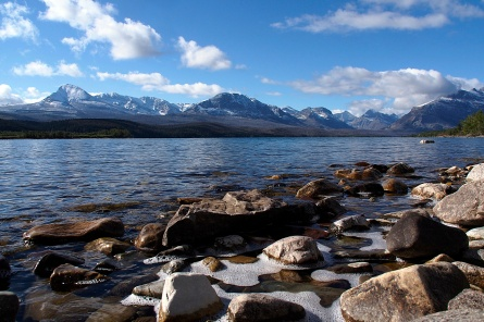 The peaks of Glacier National Park at St. Mary's Lake.
