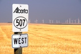 Wind mills are never a good sign for cyclists heading west in southern Alberta. It means head wind.