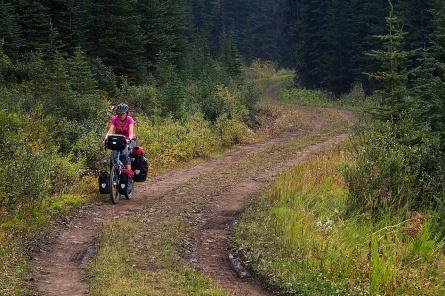 Jan on the trail through Kananaskis Country.