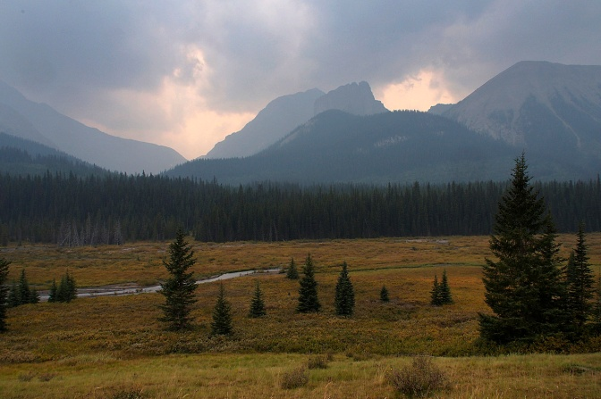 Smoke blankets the mountains in Alberta's Peter Lougheed Park.