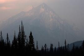 Smokey mountains at Spray Lake Reservoir.