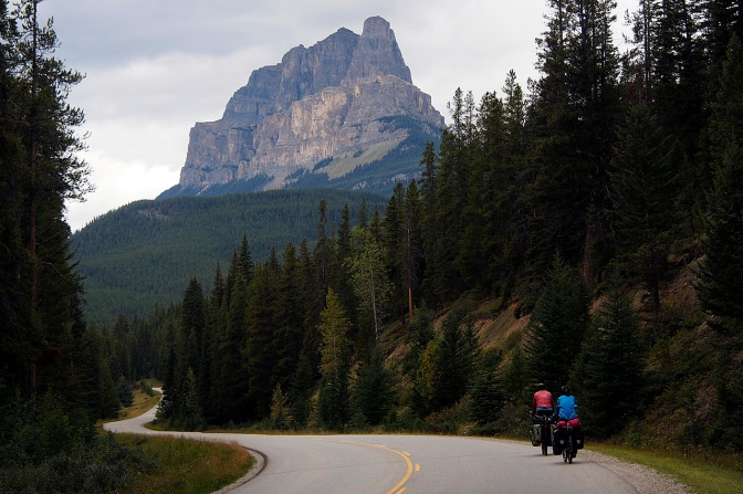 Jan and Elmar heading north on the Icefields Parkway approaching Castle Mountain.