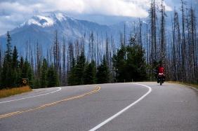 Riding south through Kootenay National Park.