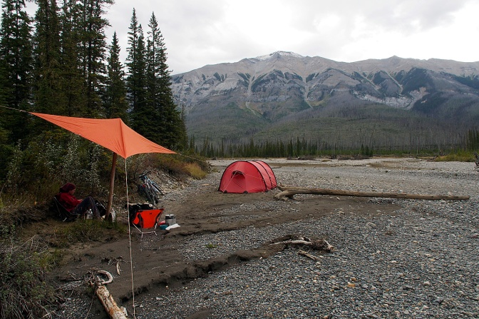 Our camp spot on the Kootenay River at the Simpson River confluence.