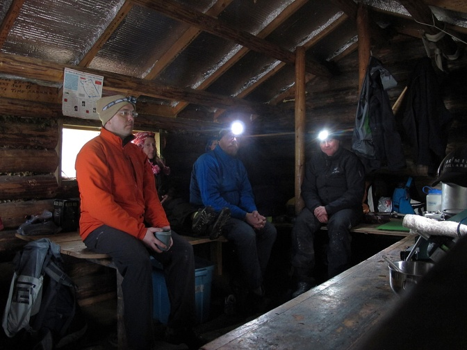 Shelter from the storm in the Indianpoint Lake cabin.