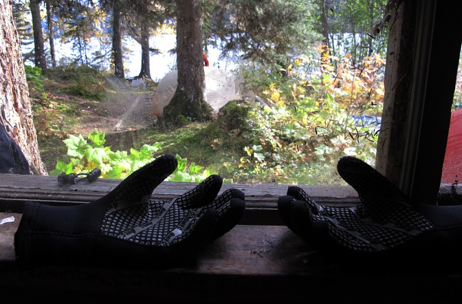 Drying gloves in the window of the Moxley Creek cabin.
